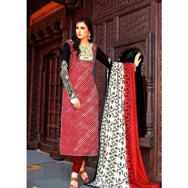 Black-&-Red-Designer-Pashmina-silk-suit
