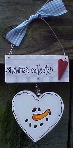 Snowman Collector Ornament Christmas Heart Welcome Sign