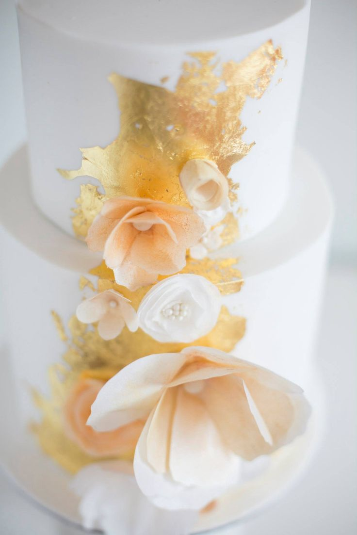 Gatsby Glamour Wedding Cake by Sweet Bakes.  Love the splashes of gold.
