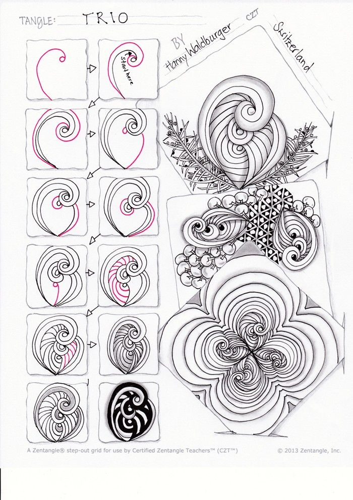 tangle pattern, Trio, by Hanny Waldburger, CZT