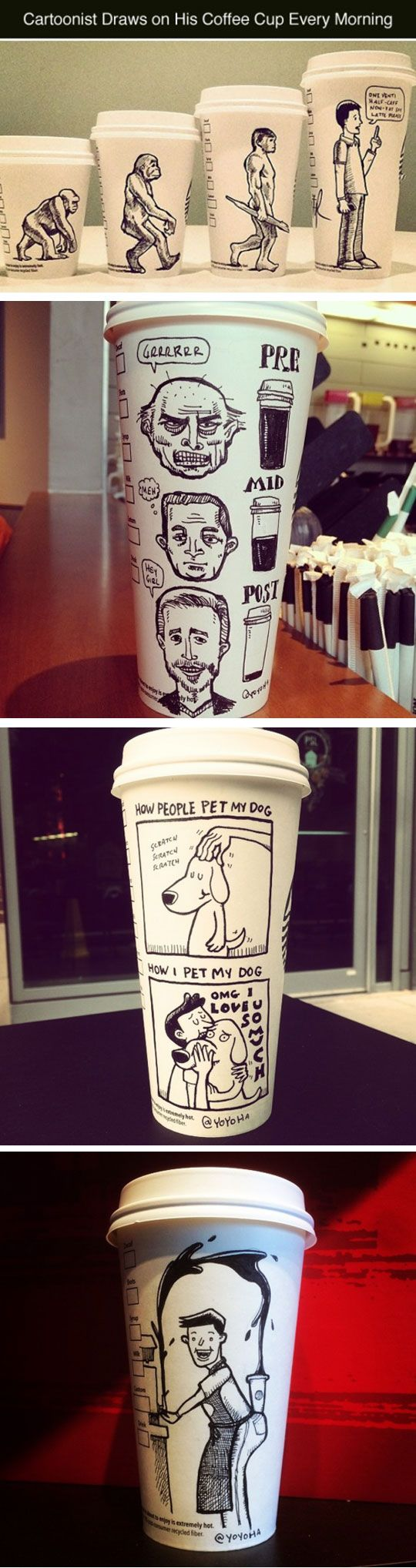 Omg... Drawing On A Coffee Cup Every Morning, the link has even more! May I just say... I pinned this like NINETEEN weeks ago and I never expected this pin that had the stupidest caption ever to get so many pins! Thank you to everyone who has pinned this pin of mine :)! -<3, Paige Palmer