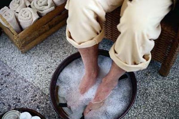 You can use a plain basin for your foot bath or you may prefer a massaging foot tub