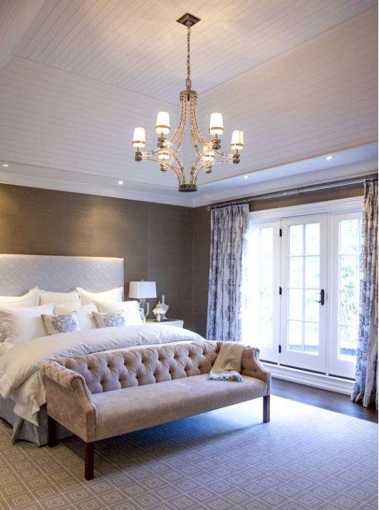 settee, print curtains, neutral