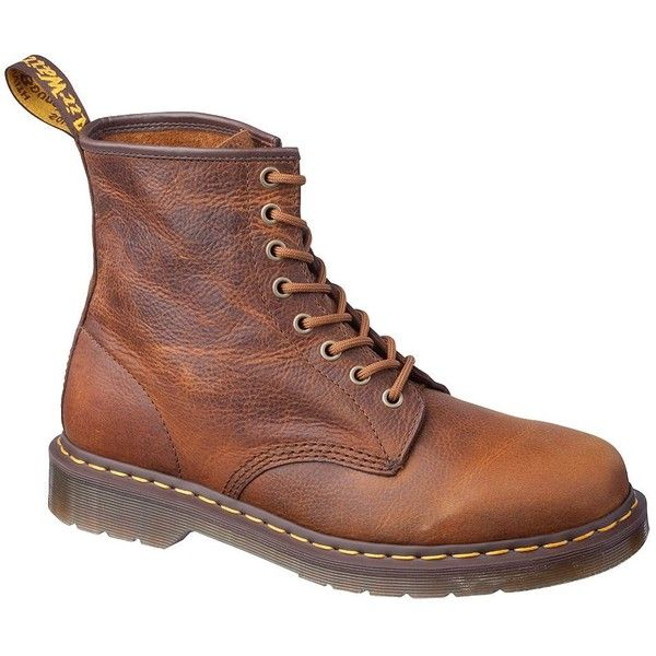 DR. MARTENS 1460 Leather Ankle Boots ($130) ❤ liked on Polyvore featuring shoes, boots, ankle booties, tan, short boots, leather ankle booties, tan leather booties, leather boots and tan booties