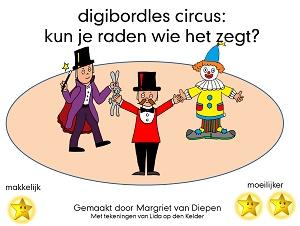 Digibordles Cirus: Weet jij wie het zegt? Deze les kun je doen als de kinderen weten wie er allemaal optreden in het circus en wat ze kunnen/doen. . De kinderen horen telkens een zin. Ze moeten raden wie dat gezegd zou kunnen hebben. Als ze op het goede plaatje klikken horen ze de zin nogmaals.