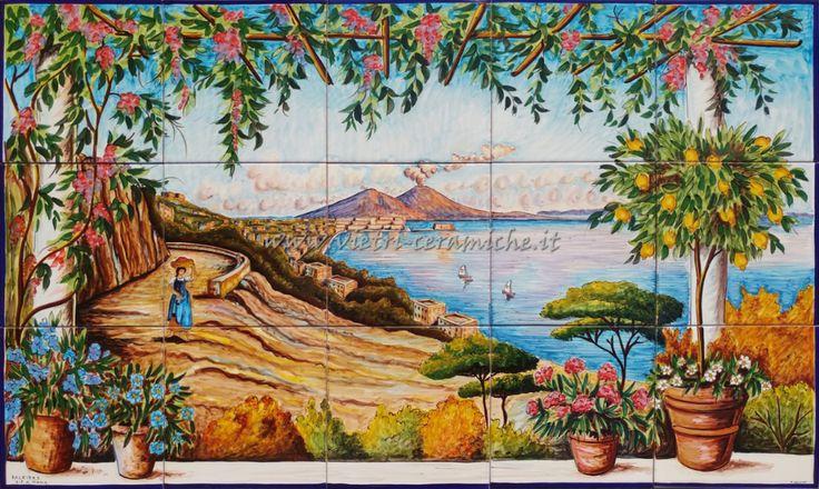 Pannello Ceramica Veduta della Napoli Antica e Vesuvio