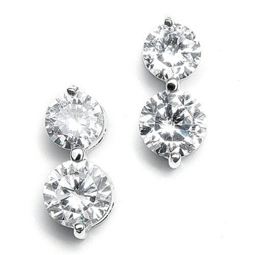 Buy Elegant Double Drop Cubic Zirconia Earrings – Roman & French - Leader in Bridal Jewellery, Wedding Hair Accessories, Bridesmaids Dresses and Wedding Gifts.