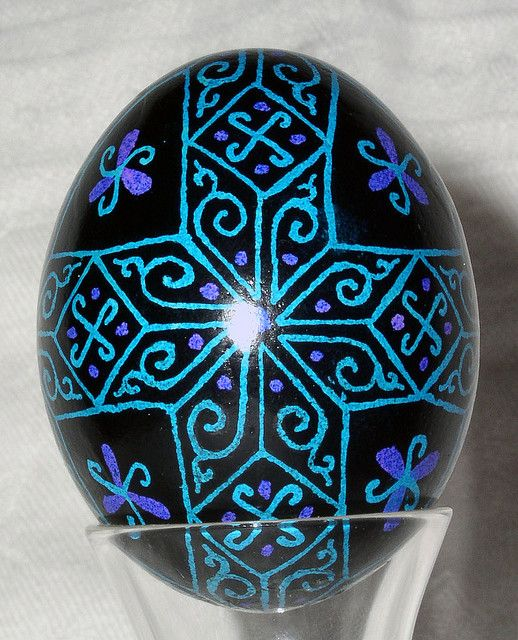 Pysanky... gorgeous in turquoise and violet on black.