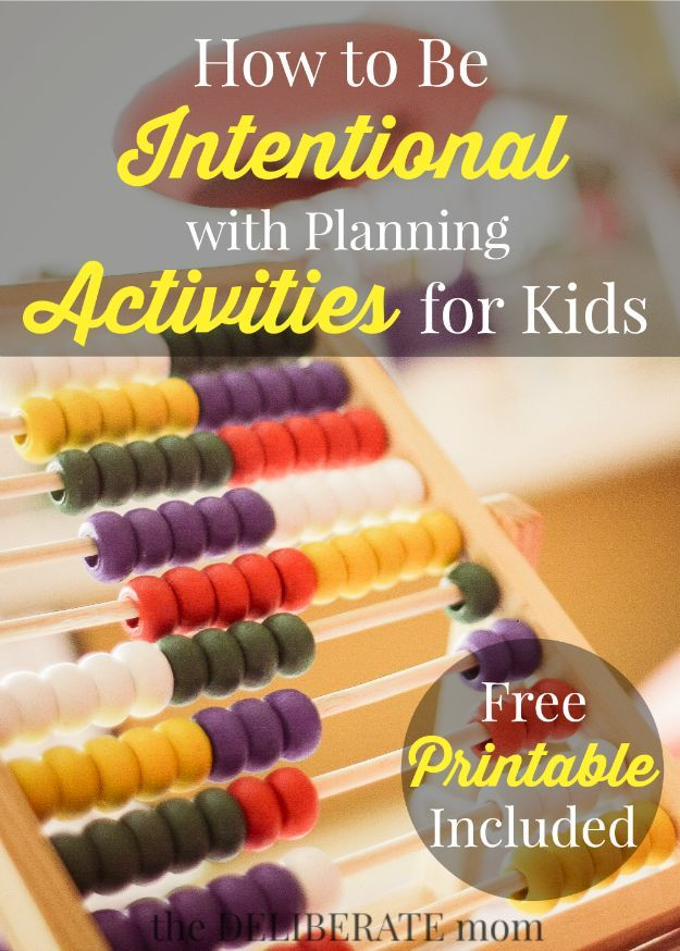 Do you want to be intentional with planning activities for your kids? Check out these tips and get a FREE printable resources with 54 activities for kids!