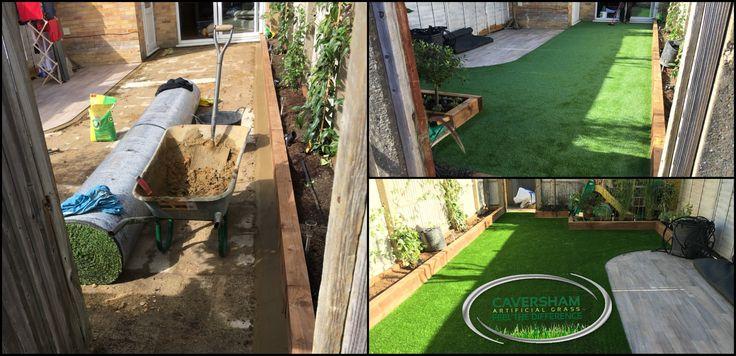 Small Back garden transformation using artificial grass...