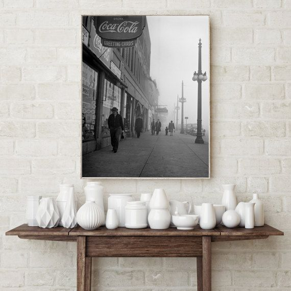 Chicago Photography, Foggy Afternoon, 1942, Chicago Sidewalk, Chicago Wall  Decor, Home