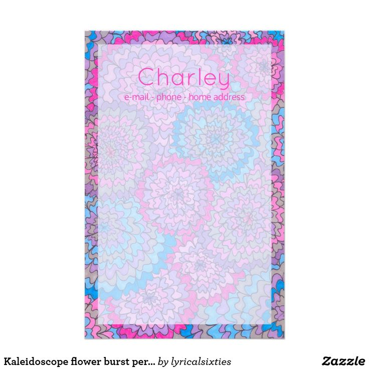 Kaleidoscope flower burst personalised stationery Very pretty stationery decorated with a hand drawn and coloured kaleidoscope flower burst pattern, with a paler section in the centre for writing on. It's all in girly shades of pink and light blue, and can be personalised with your name and details