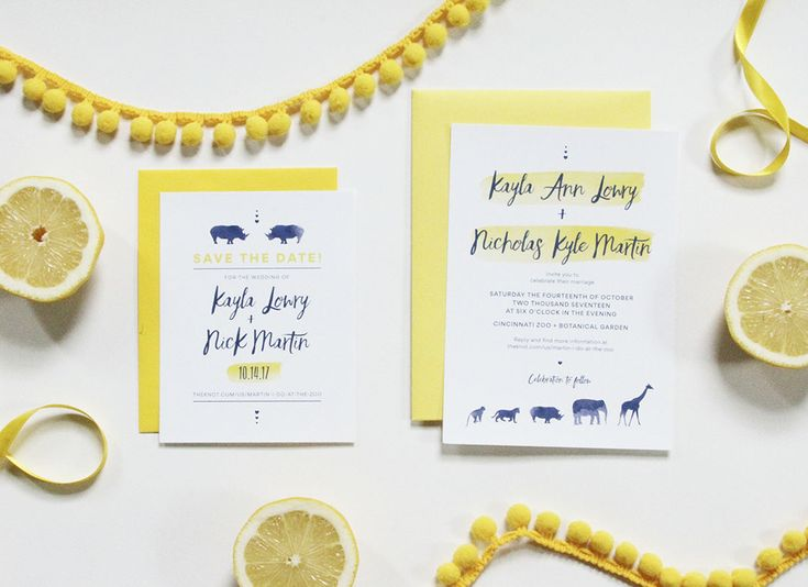 Zoo Themed Yellow & Navy Blue Save the Date & Wedding Invitation