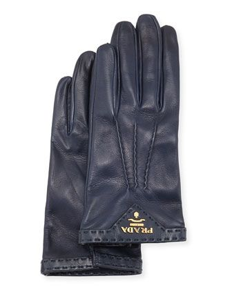 Napa+Leather+Gloves,+Dark+Blue+by+Prada+at+Neiman+Marcus.