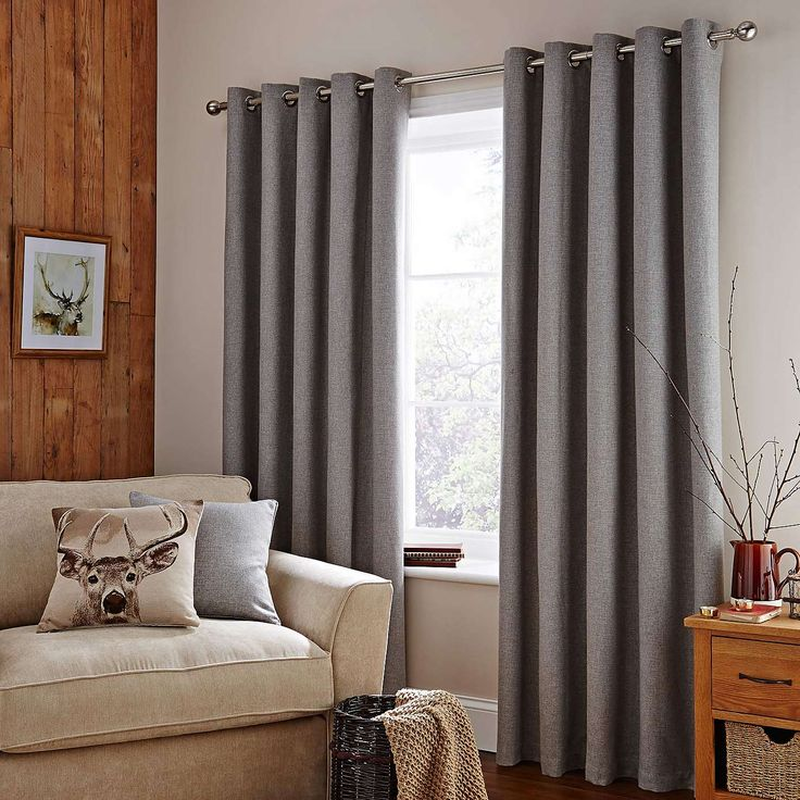 Harris Grey Thermal Eyelet Curtains | Dunelm