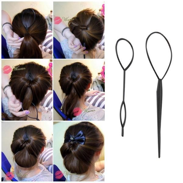 2 Pcs Ponytail Creator Plastic Loop Styling Tools Black Topsy Pony Topsy Tail Clip Hair Braid Maker Styling Too Hair Braid Maker Hair Braiding Tool Hair Styles