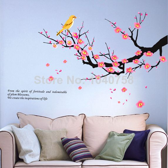 Removable Pvc Paper Flower Plum Blossom Decorative Wall Decal Birds Wintersweet Tree Wall Sticker Home Decoration