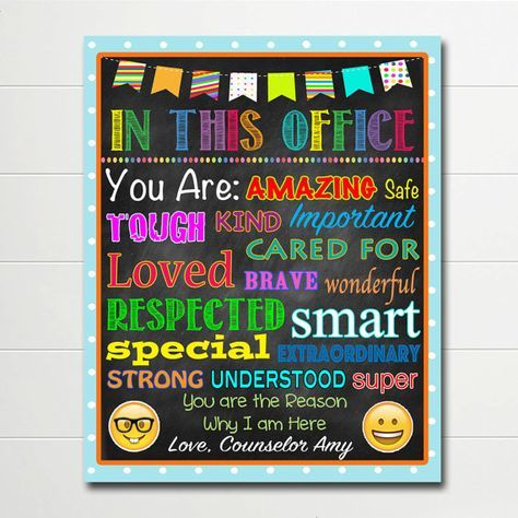 PERSONALIZED School Counselor Poster, Child Therapist Decor, Counselor Office Sign DIGITAL DOWNLOAD, Therapist Office, In this Office Art