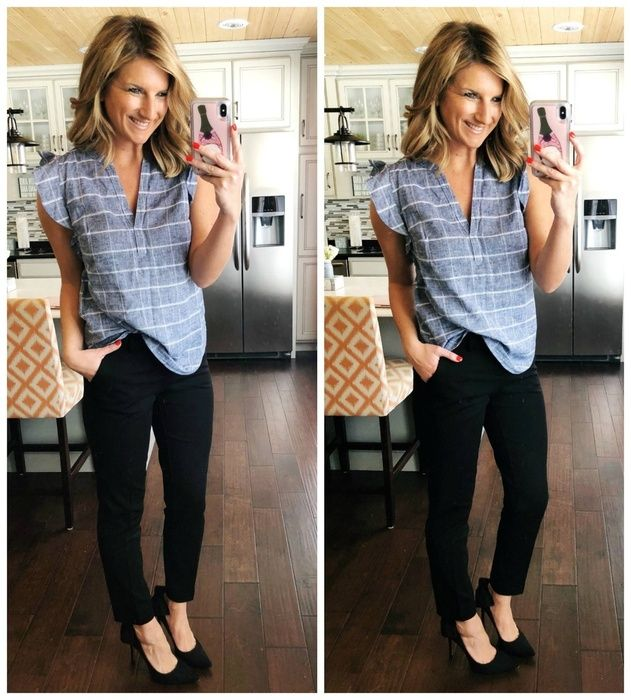 Work Outfit Inspiration // Sleeveless Top + Black Dress Pants + Black Heels