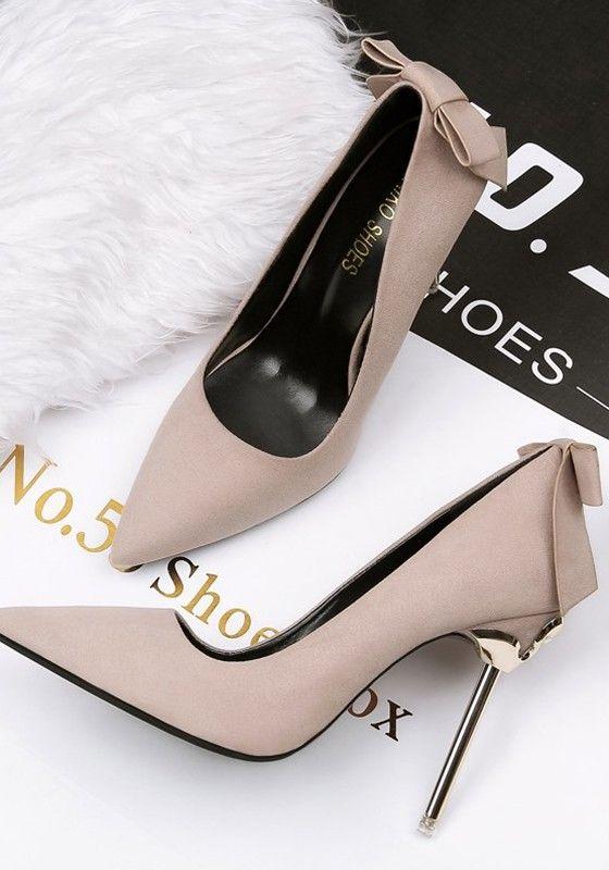 Chaussures orteil point stylet cravate doux à talons hauts kaki