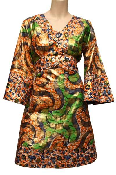 - Wax print dress  - Flare sleeve  - Belt to fasten at waist  - Figure flattering  - Available in different prints - blue, orange, pink. Please state any preferences during checkout    Sizes available:  Small (UK Size 8-10, USA Size 4 - 6, Eur 36-38)  Medium (UK Size 10-12, USA Size 6 - 8, Eur 38-40)  Large (UK Size 12-14, USA Size 8 - 10, Eur 40-42)