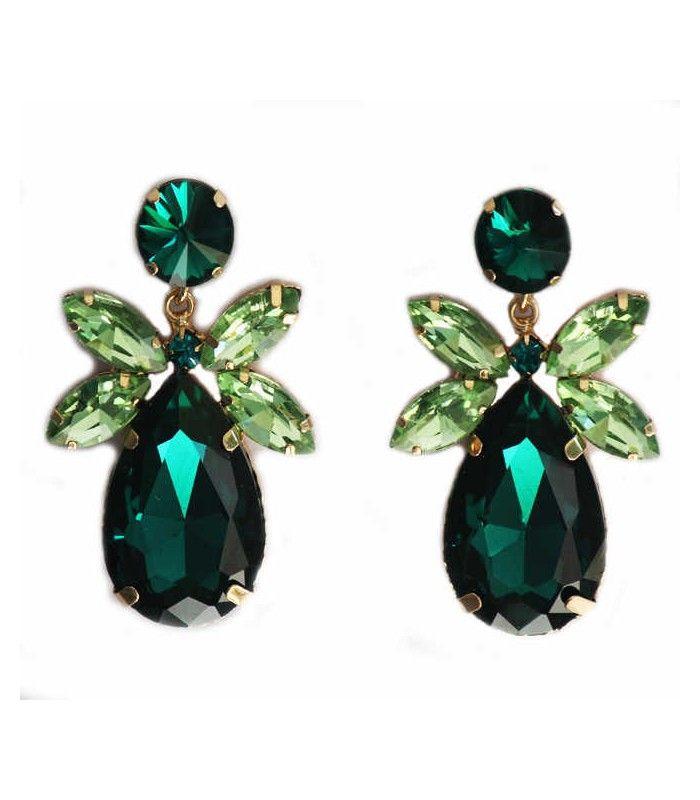 Miriam Stella Fashion Jewelry - Orecchini verdi a goccia  #miriamstella #fashionblogger #moda #fashion #madeinitaly #fashionjewelry #jewelry #jewels #earrings #crystals #drop #green