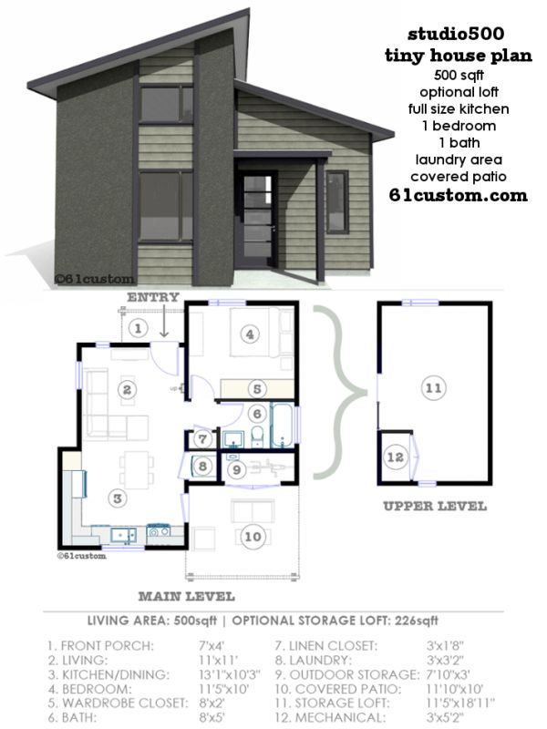 Studio500: Modern Tiny House Plan | Modern Tiny House, Tiny House Plans And  Tiny Houses