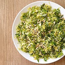 This Shredded Brussels Sprouts with Basil and Pine Nuts #recipe is a terrific side dish to poultry or fish.