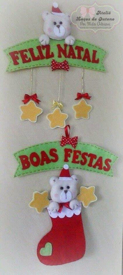 Feltro Fácil: Enfeite de Porta Natalino em Feltro; Felt Christmas