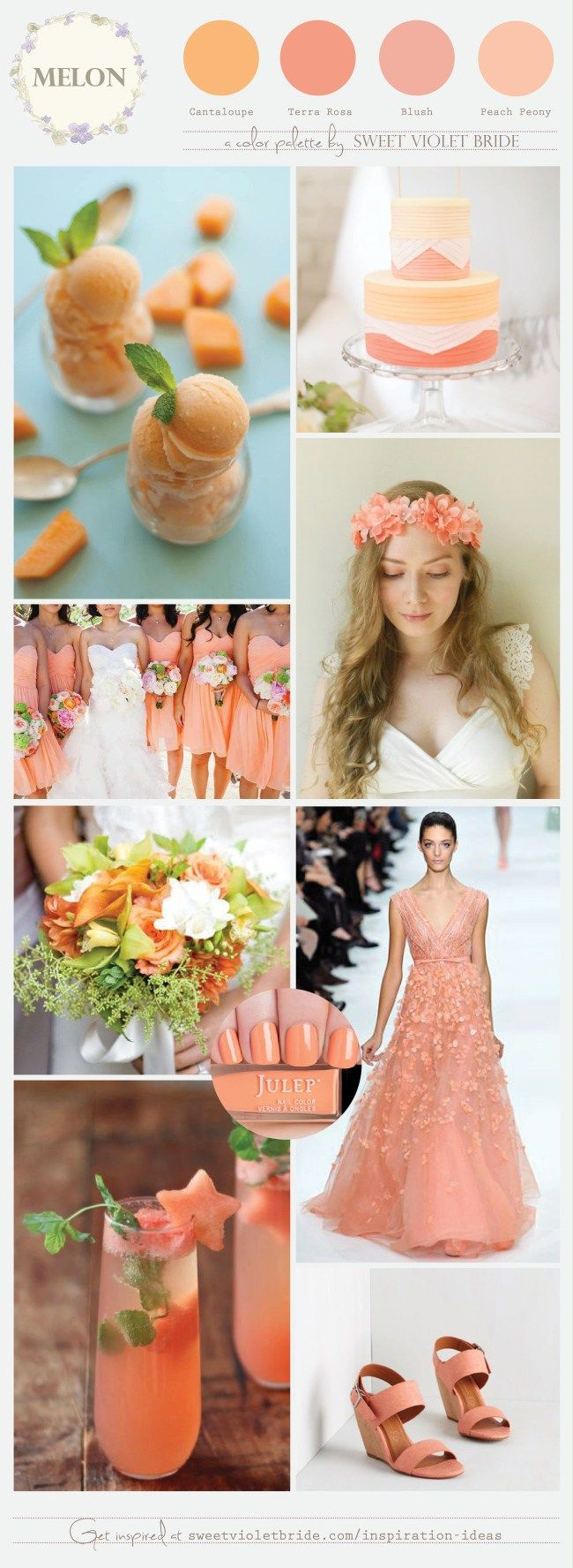 Melon is a beautiful color choice for spring and summer weddings, but you can also incorporate the fruit into your menu with pretty cocktails and treats such as cantaloupe sorbet! It pairs well with blush and mint colors as well as gold, silver, rose gold etc