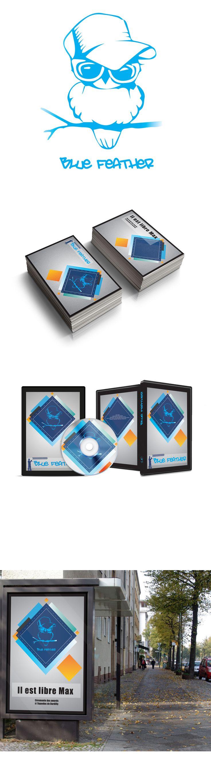 """Création d'un logo, d'une jaquette CD, d'une carte d'invitation ainsi qu'une affiche pour un groupe amateur qui avait pour mascotte un oiseau bleu rappeur, et qui a repris la chanson """"il est libre Max"""" de Hervé Cristiani dans un style plus rap et enfantin."""