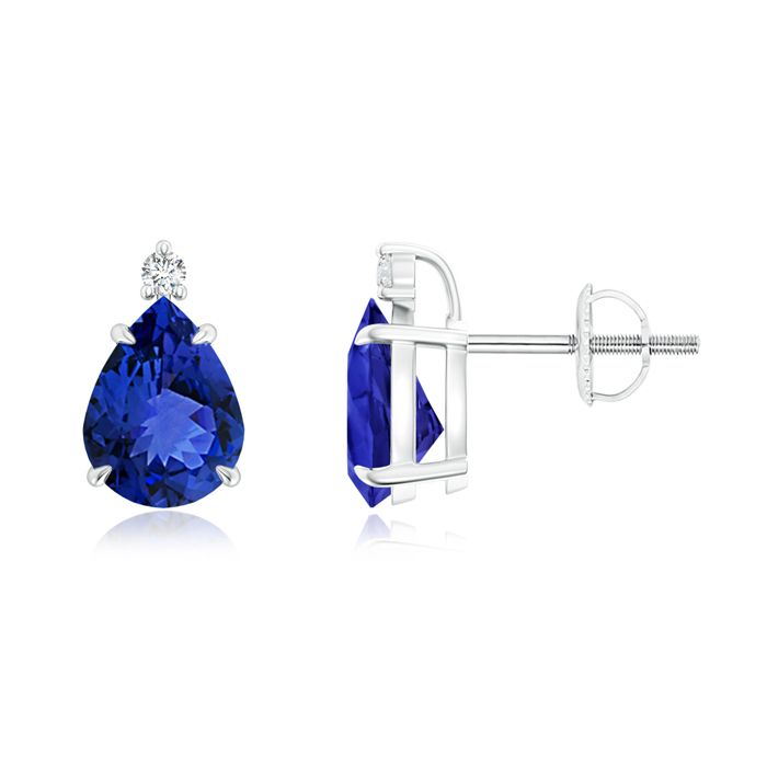 Classic Claw Set Pear Tanzanite Solitaire Stud Earrings. Dazzling in their splendor are inverted pear-shaped tanzanites, secured in a claw prong setting.