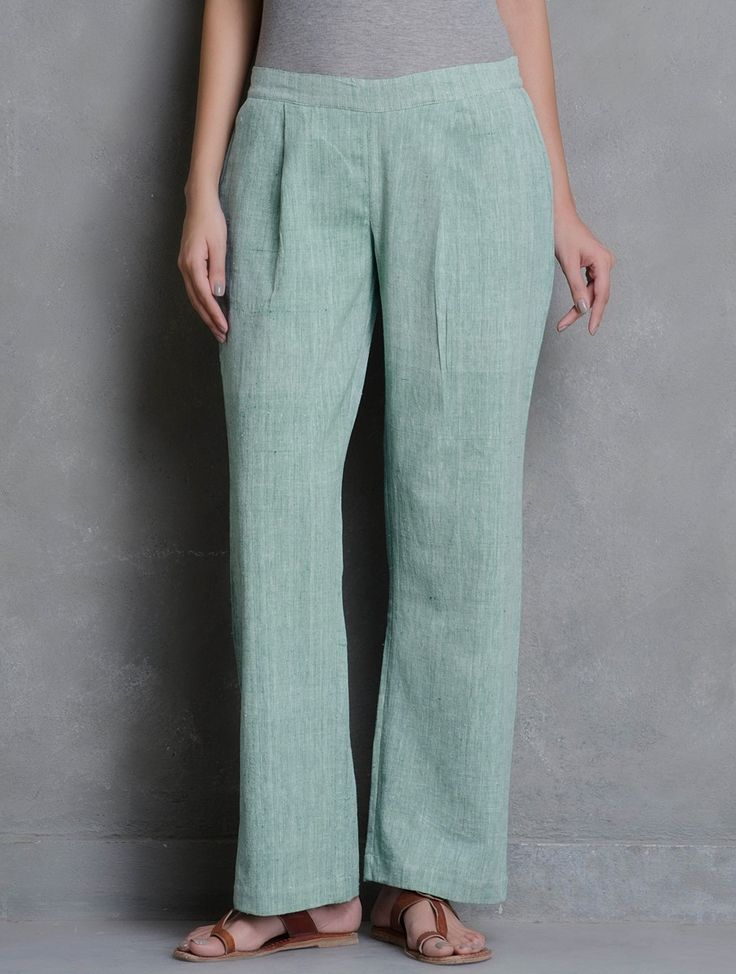 Buy Green Pleated Elasticated Waist Khadi Cotton Pants with Pockets (Front) Online at Jaypore.com