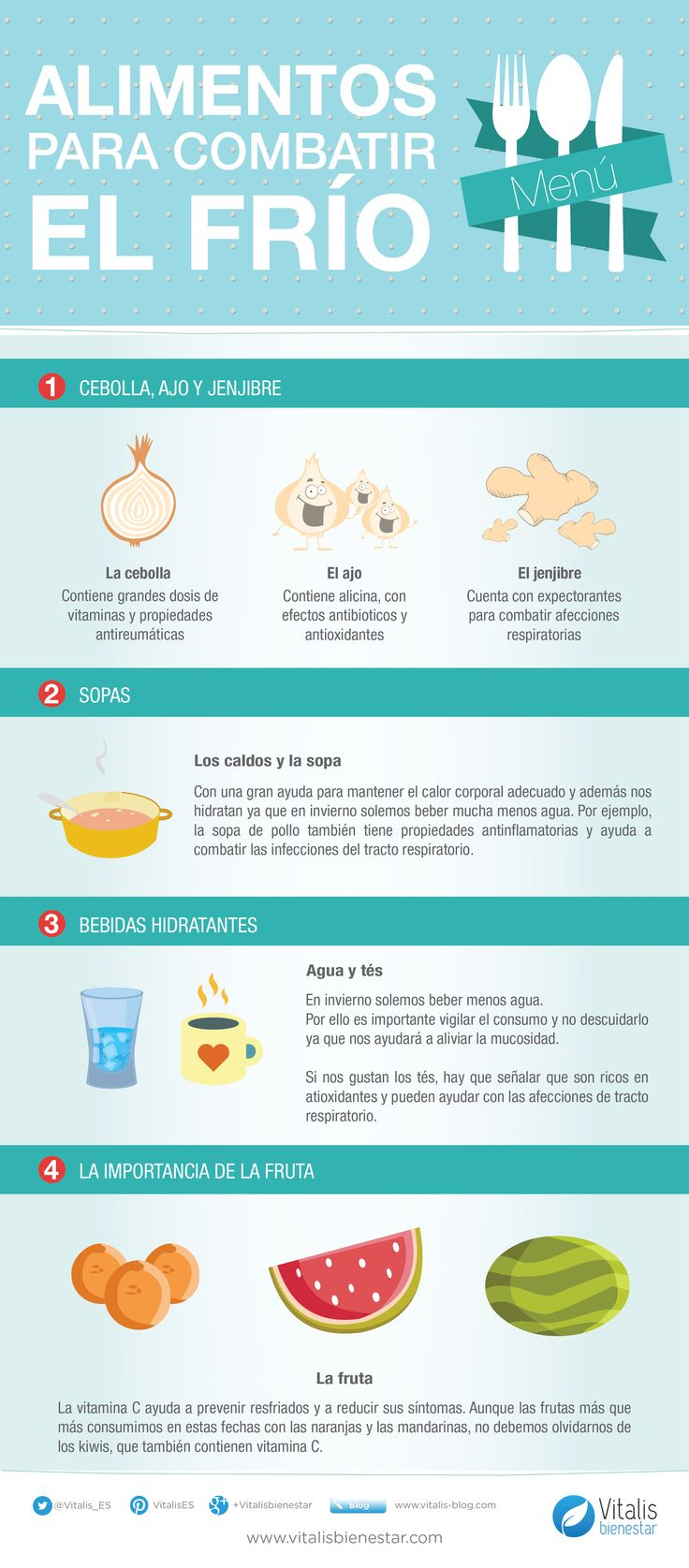 Los mejores alimentos para combatir el frío. Con el frío que hace, es normal que queramos calentarnos de cualquier forma para no pasarlo tan mal. #infografía #salud