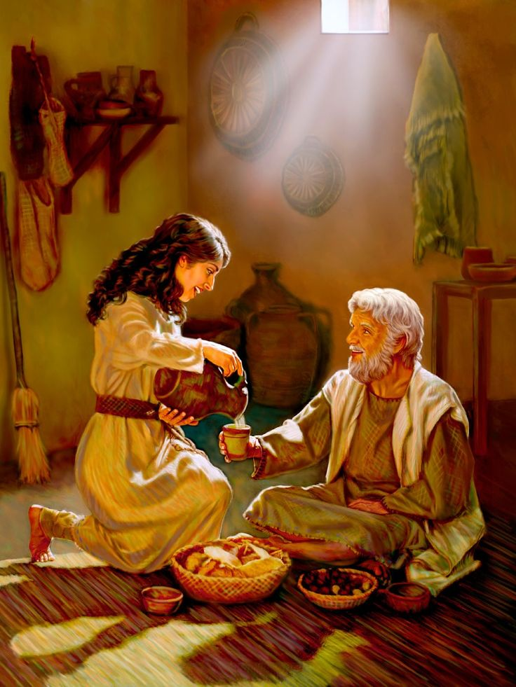 Esther serves a meal to Mordecai in his home