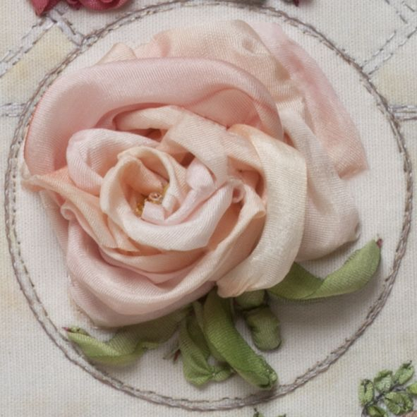 Silk Ribbon work - large pink rose. Wow. Embroidering with ribbon. Who knew?