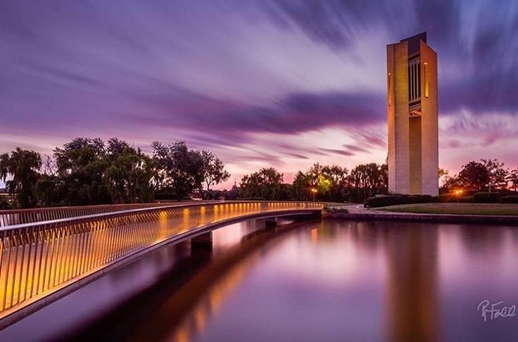 This breathtaking long exposure shot of Canberra's National Carillon was taken just after a stunning sunset by @ryanferdinandphotos.  The Carillon is a striking 50-metre tall architectural landmark and musical instrument gifted by the British Government to the people of Australia in celebration of the 50th anniversary of the National Capital. #visitcanberra #onegoodthingafteranother