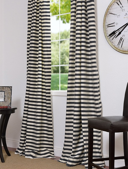 Black Cream Hand Weaved Cotton Curtains Dining Room