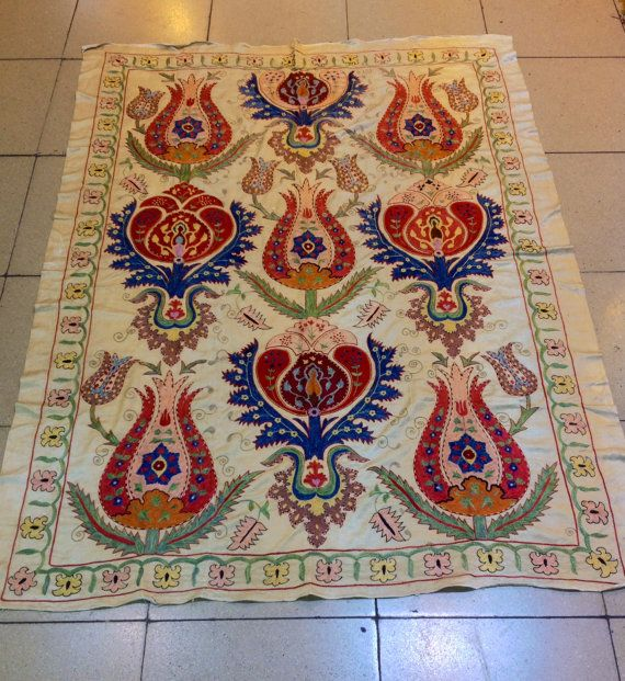 Silk on silk tulips suzani bedcover uzbek silk by akcaturkmen, $450.00