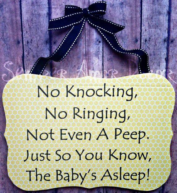 Baby Sleeping Sign Yellow Honeycomb by SemperAmorDecor on Etsy