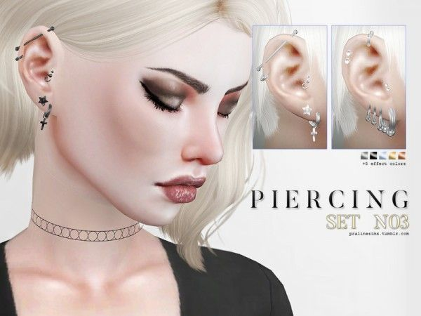 Tattoos/Piercings: Piercing Set N03 by Pralinesims from The Sims Resource • Sims 4 Downloads