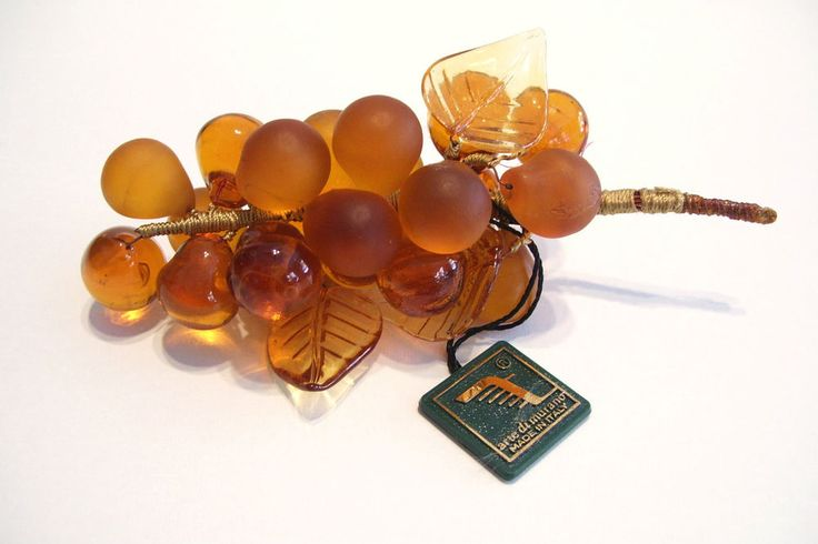 Murano Amber Glass 18 Grapes Cluster Italy Art Glass Italian Gift Box Tag Label $69.99 includes free shipping USA and Canada