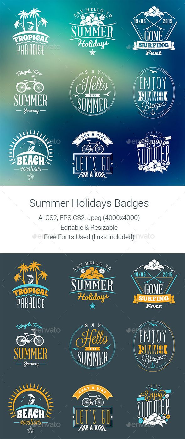 Summer Holiday Badges Template #badges Download: http://graphicriver.net/item/summer-holiday-badges/11732105?ref=ksioks