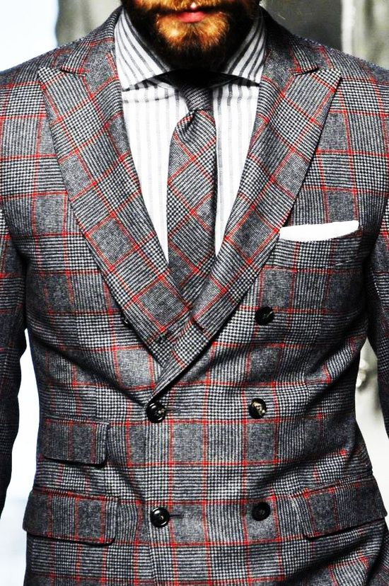 Coordinating plaid jacket and tie