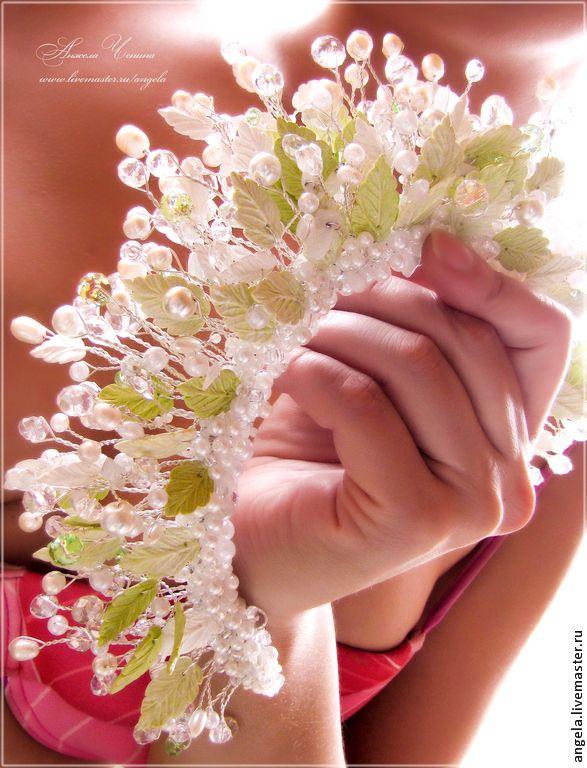 """Купить Свадебная корона-диадема """"Весенний лес"""" - весенняя диадема-корона, свадебная диадема-корона"""
