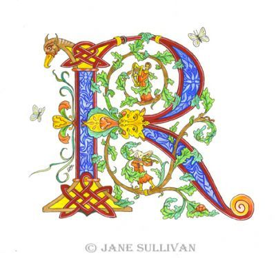Celtic calligraphy R 'illuminated_letter' fonts Illuminated letter R is for Rhadegund the Rabbit  ©Jane Sullivan  Illuminated letter R is for Rhadegund the Rabbit©