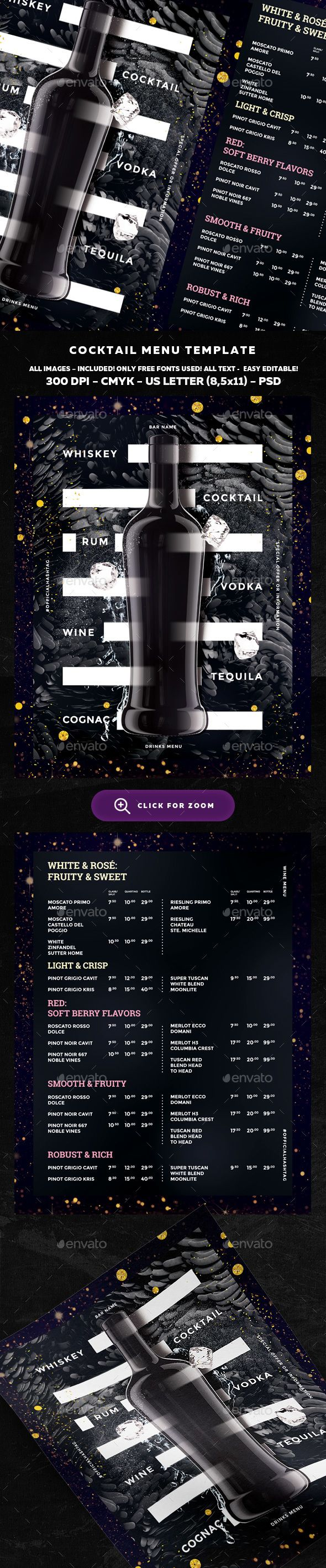 Valuable Wine Drinks Menu PSD Template • Only available here ➝ http://graphicriver.net/item/wine-drinks-menu/16349765?ref=pxcr