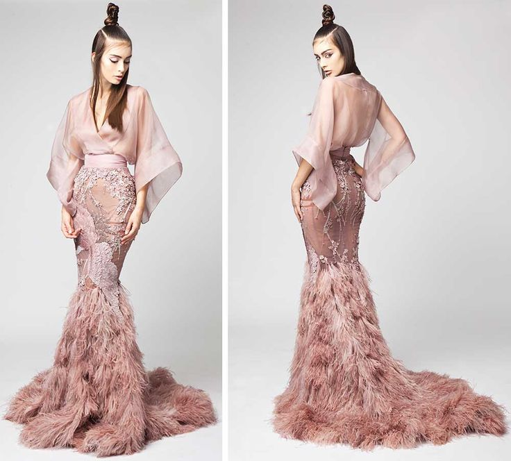fishtail rose gold feathered dress