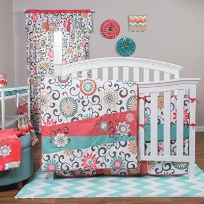 Floral Teal and Coral Baby Bedding Set~ Trendy baby girl nursery with classic flowers and chevron print decor- beautiful way to add color to the muted gray walls.