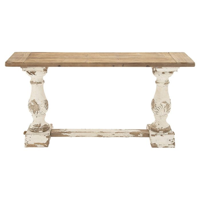 "Warren Console Table from Joss and Main. Brimming with rustic appeal, this wood console table features a weathered finish and turned column legs. Made of wood with a natural and off-white finish. 39""H x 59""W x 16""D. $380.95"